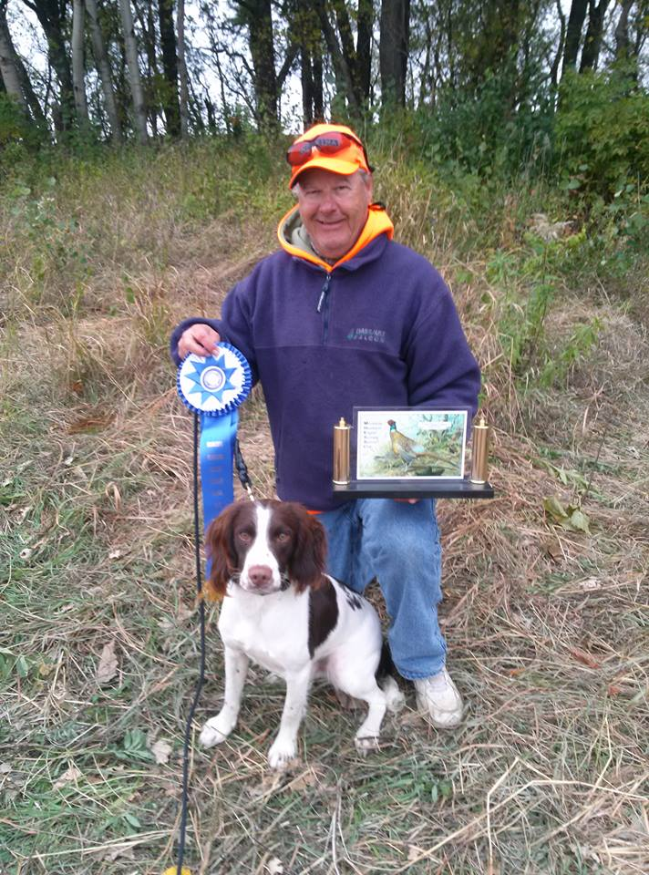 Taz with his 1st place bling. Minnesota Heartland Field Trial